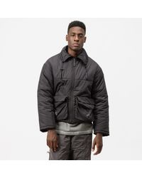 0937d4cd3 BOSS Hooded Down Puffa Jacket With Woven Checked Panel in Black for ...