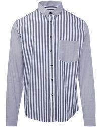 AMI - Bi-material Button Down Shirt - Lyst