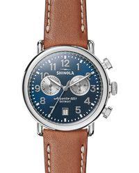 Shinola - Men's 41mm Runwell Chronograph Watch Midnight Blue/tan - Lyst