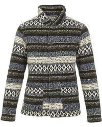 Engineered Garments - Fwk Shawl Collar Knit C/d Navy Fair Isle Fleece - Lyst