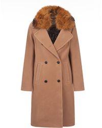 SOIA & KYO - Lux Wool Fur Collar Wool Coat - Lyst