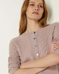 N.Peal London Cable Cashmere Cardigan - Multicolour