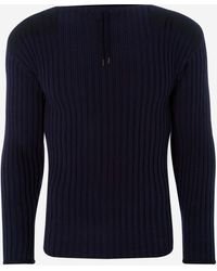 N.Peal Cashmere 007 Ribbed Army Jumper - Blue
