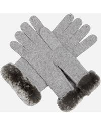 N.Peal Cashmere Fur And Cashmere Gloves - Grey