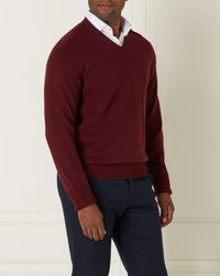 N.Peal London The Mayfair V Neck Cashmere Jumper - Red