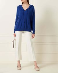 N.Peal Cashmere Metal Edge Hooded Cashmere Jumper - Blue
