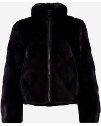 N.Peal Cashmere Mink Stand Collar Jacket - Grey