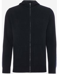 N.Peal Cashmere Stripe Detail Cashmere Hoodie - Blue