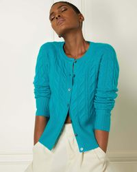 N.Peal London Cable Cashmere Cardigan Cerulean Blue