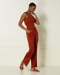 N.Peal London Silk Blend Ribbed Trousers Amber Orange - Red