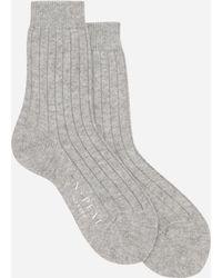 N.Peal Cashmere Womens Plain Short Socks - Grey