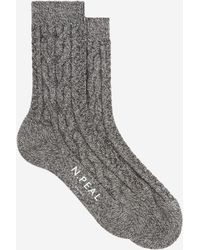 N.Peal Cashmere Womens Cable Short Socks - Gray