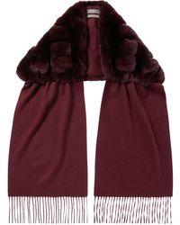 N.Peal London Rabbit Fur Scarf - Red