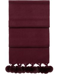 N.Peal London Fur Bobble Woven Scarf - Red