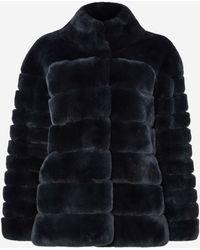 N.Peal Cashmere Rex Fur Ribbed Jacket - Blue