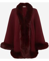 N.Peal Cashmere Fox Trim Knitted Cape - Red