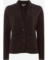 N.Peal Cashmere Dogtooth Milano Cashmere Jacket - Blue