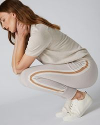 N.Peal London Stripe Detail Cashmere Lounge Trousers Snow Grey + New Ivory White + Camel Brown - Multicolour