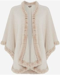 N.Peal Cashmere Cape With Fur Trim Edge - Brown