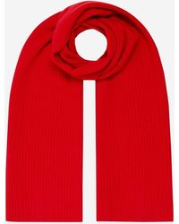 N.Peal London Short Ribbed Cashmere Scarf Red