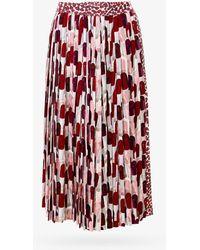 Prada Pleated Lipstick Print Skirt - Red