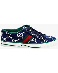 Gucci Tennis 1977 Embroidered Logo Trainer - Blue