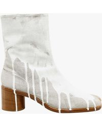 Maison Margiela Paint-effect Tabi Boots - White