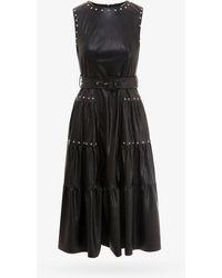 Pinko Stud Embellished Sleeveless Midi Dress - Black