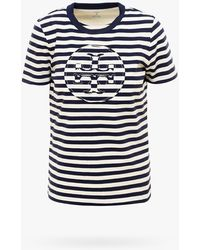 Tory Burch Striped Logo T-shirt - Black