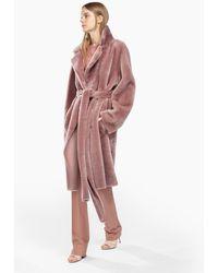 N°21 Manteau en peau de mouton retournée - Rose