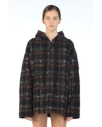 N°21 Oversized Lace-Print Checked Hoodie - Bleu