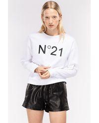 N°21 Sweat à logo imprimé - Blanc