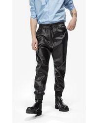 N°21 Eco-leather Drawstring Pants - Black