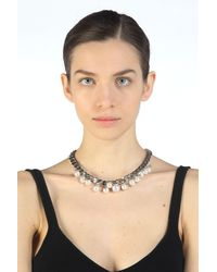 N°21 Faux Pearl-Embellished Chain Necklace - Métallisé