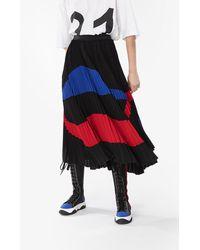 N°21 Gonna plissettata con design color-block - Nero