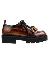 N°21 Chunky Chain-embellished Derby Shoes - Brown