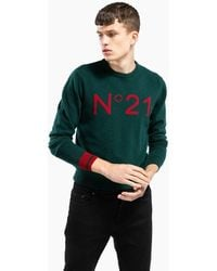 N°21 Maglione in lana vergine con logo - Verde