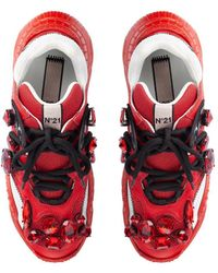 N°21 Sneakers Billy con strass - Rosso
