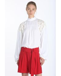 N°21 Lace-insert Blouse - White