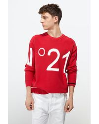 N°21 Crew Neck Logo Sweater - Red