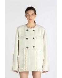 N°21 Manteau croisé en tweed - Blanc