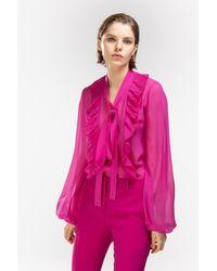 N°21 - Blusa semitrasparente con fiocco - Lyst