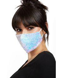 New York & Company White Sequined Face Mask