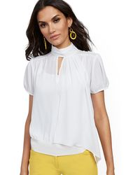 New York & Company Tall Button-accent Scarf Blouse - 7th Avenue - White