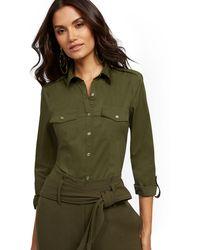 New York & Company Tall Olive Madison Stretch Shirt - Secret Snap - 7th Avenue - Green