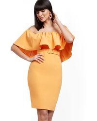 New York & Company Flounced Off-the-shoulder Sheath Dress - Orange