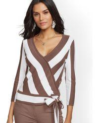New York & Company - 7th Avenue - Stripe V-neck Wrap Sweater - Lyst