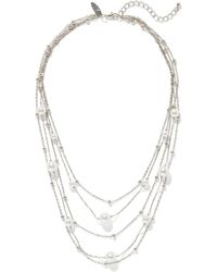 New York & Company Silver Layered Pearl Necklace - Metallic