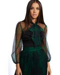 New York & Company Plaid Tulle Twofer Top - 7th Avenue - Black