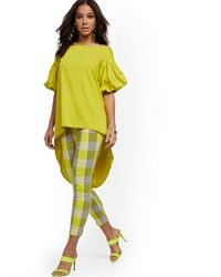 New York & Company Petite Hi-lo Poplin Tunic Shirt - Yellow